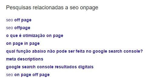 SEO On-Page: Termos relacionados