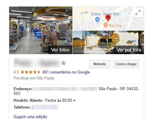 Visualização da loja no Google Meu Negócio